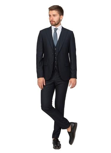 White Stone Gosford Slim Fit 6 Drop Sivri Yaka Yelekli Takım Elbise Açık Lacivert Lacivert